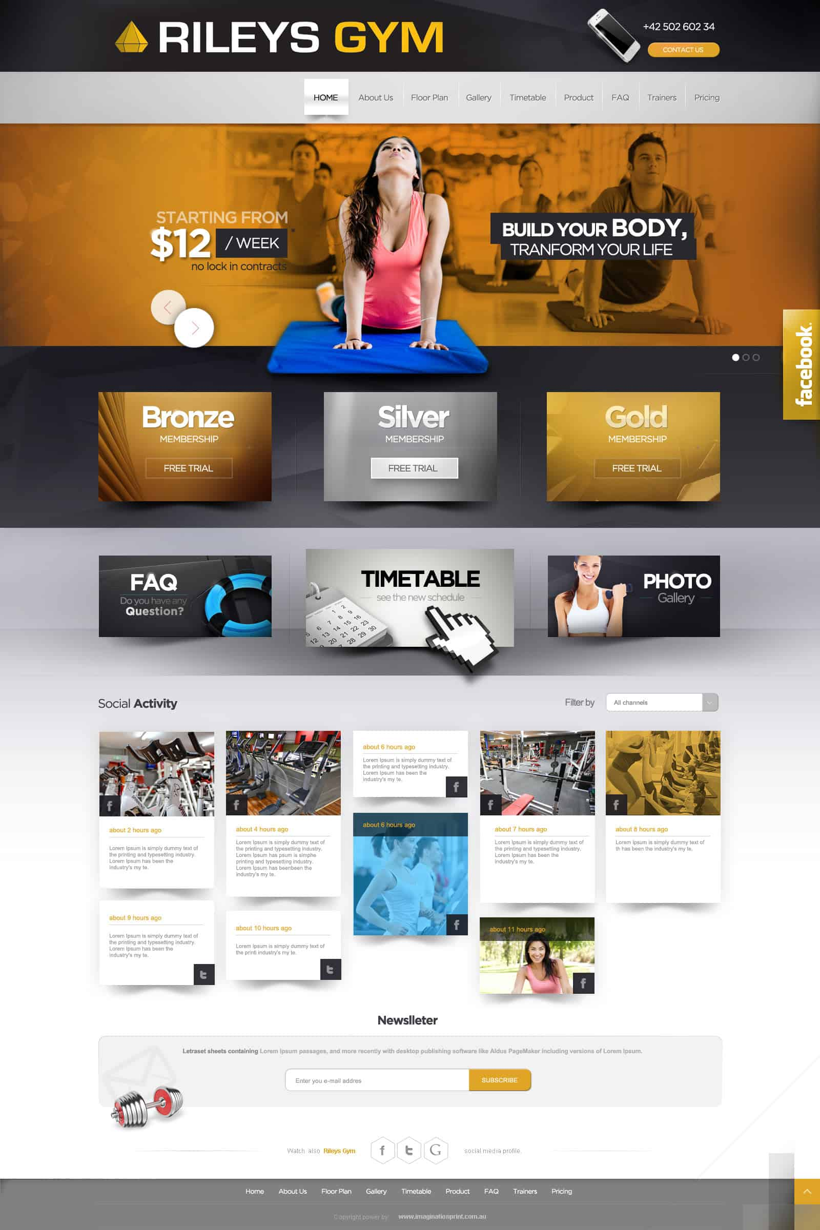 WordPress website design services for Rileys Gym