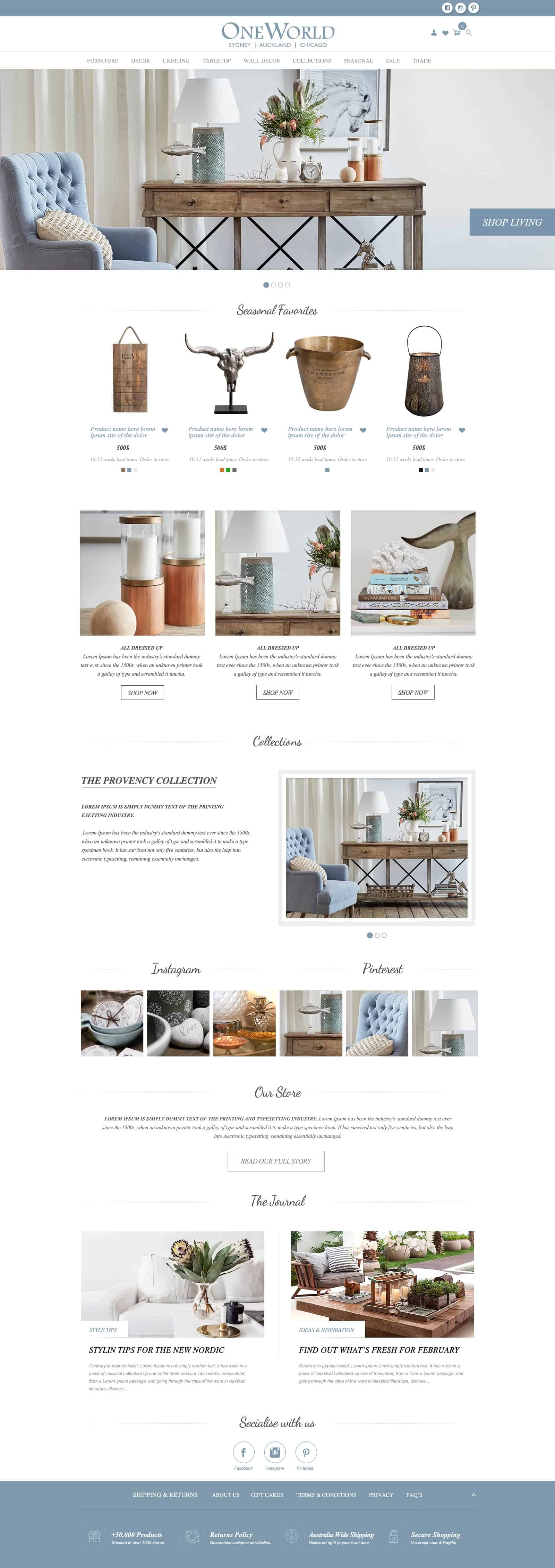Magento Web design for OneWorld Collection